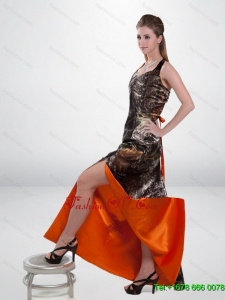 Luxurious Column Halter Top Camo Prom Dresses with High Slit