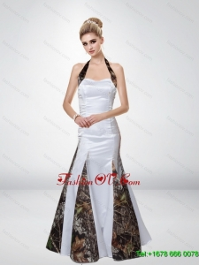 Mermaid Halter Top Romantic Camo Prom Dresses with Ruching