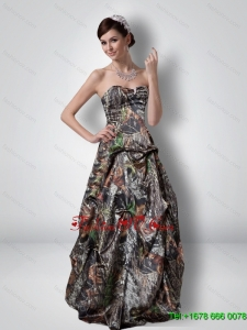 Perfect A Line Sweetheart Beading Camo Prom Dresses with Outdoor