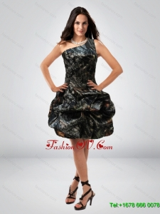 Perfect Ball Gown One Shoulder Camo Prom Dresses with Belt