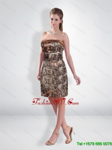 Perfect Short Strapless Camo Prom Dresses with Ruching