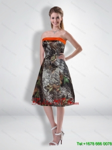 Popular Short Strapless Knee Length Camo Prom Dresses