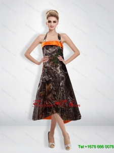 Romantic 2015 Empire Halter Camo Prom Dress with Tea Length