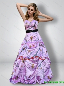 Romantic Sweetheart Camo Prom Dresses with Sash for 2015