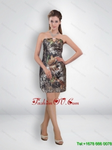 Short Column Mini Length Camo Prom Dresses with Beading