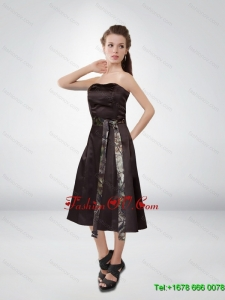 Simple Short Strapless Camo Prom Dresses with Tea Length