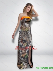 2015 Luxurious Empire Strapless Garden Camo Prom Dresses with High Slit