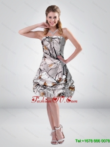 2015 Short Strapless Mini length Camo Prom Dresses with Ruching