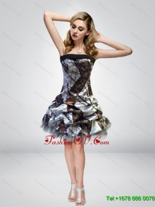2015 Unique Short Knee Length Camo Prom Dresses with Strapless
