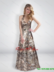 Elegant A Line Halter Top Multi Color Camo Prom Dresses with Brush Train