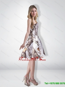 Elegant Multi Color Strapless Knee Length Camo Prom Dresses