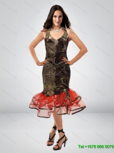 Fitted Column V Neck Tea Length Camo Prom Dress with Ruching