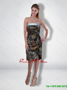 Flirting 2015 Column Strapless Tea Length Camo Prom Dresses