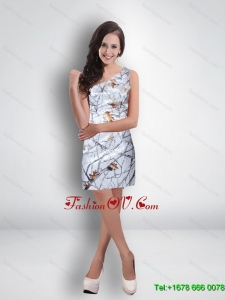 Short One Shoulder Ruched Classical Camo Prom Dresses in Multi Color