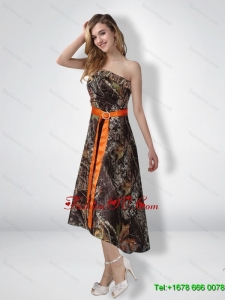 Short Strapless Strapless High Low Camo Prom Dresses with Sash