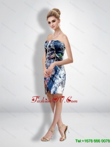 Unique Column Strapless Short Camo Wedding Dresses