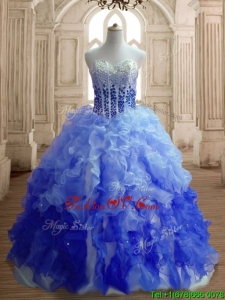 Hot Sale Big Puffy Gradient Color Quinceanera Dress with Beading and Ruffles