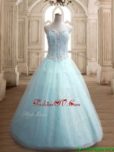 Latest Beaded Bodice Apple Green Sweet 16 Dress in Tulle