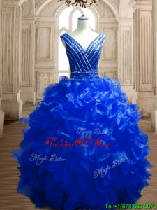 Modest Beaded and Ruffled Deep V Neckline Quinceanera Dress in Royal Blue