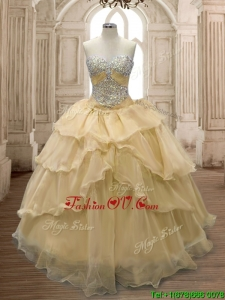 Exquisite Beaded and Ruffled Organza Sweet 16 Dress in Champagne