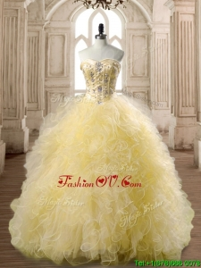 Perfect Beaded and Ruffled Tulle Quinceanera Dress in Yellow