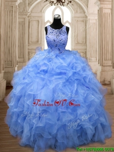 Perfect Scoop Beading and Ruffles Quinceanera Dress in Organza
