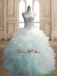 See Through Scoop Light Blue Quinceanera Dress with Beading and Ruffles