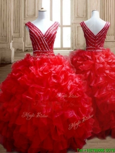 Sexy Deep V Neckline Red Quinceanera Dress with Beading and Ruffles