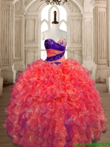 Exquisite Big Puffy Beaded and Ruffled Quinceanera Dress in Orange Red