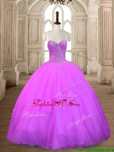 Fashionable Beaded Lilac Big Puffy Quinceanera Dress in Tulle