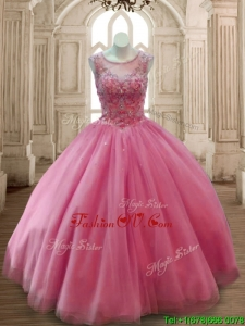Fashionable Scoop Rose Pink Tulle Quinceanera Dress with Beading
