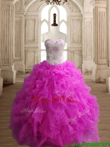 New Arrivals Really Puffy Fuchsia Quinceanera Dress with Beading and Ruffles