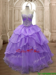 Pretty Big Puffy Ruffled Layers and Beading Sweet 16 Dress in Organz