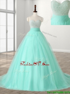 Wonderful A Line Beading Sweet 16 Dress with Brush Train