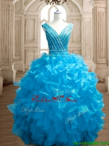 Wonderful Deep V Neckline Beading and Ruffles Sweet 16 Dress in Organza