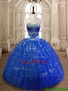 Cheap Beaded Royal Blue Quinceanera Dress in Sequins