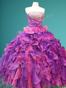 Best Beaded and Ruffled Quinceanera Dress in Purple and Pink