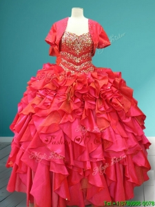 Luxurious Beaded Bodice and Ruffled Quinceanera Gown in Red
