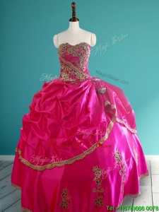 Popular Hot Pink Quinceanera Dress with Pick Ups and Appliques