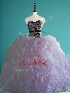 Romantic Leopard Big Puffy Quinceanera Dress with Beading and Ruffles