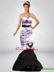Sexy Mermaid Camo Prom Dresses with Hand Made Flower and Sashes