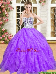 Classical Really Puffy Quinceanera Dress with Ruffles and Beading