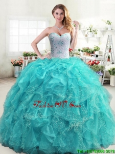 Inexpensive Beaded and Ruffled Turquoise Quinceanera Dress in Organza