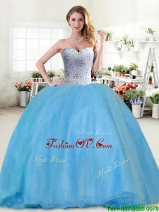 Modest Beaded Tulle Sweet 16 Dress in Baby Blue