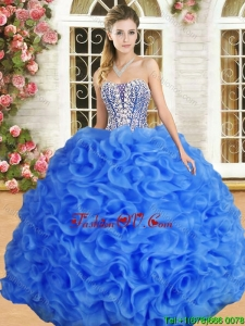Perfect Beaded and Ruffled Organza Quinceanera Dress in Royal Blue