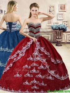 Inexpensive Beaded and Applique Quinceanera Dress in Wine Red