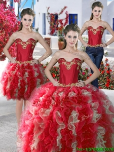 Beautiful Applique and Ruffled Detachable Quinceanera Dresses in Organza
