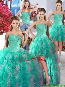 Cheap Turquoise and White Detachable Quinceanera Dresses with Beading and Ruffles