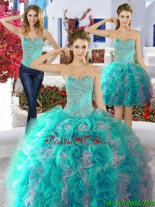 Classical Beaded and Ruffled Big Puffy Detachable Quinceanera Dresses in Organza