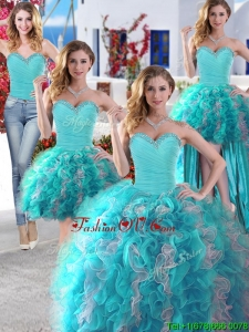 Discount Baby Blue and White Detachable Quinceanera Dresses with Beading and Ruffles